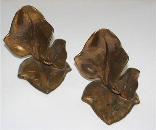 McClelland Barclay Vintage Bronze Leaf Bookends Art Nouveau