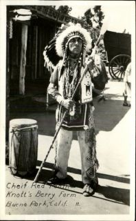 Buena Park CA Knotts Berry Farm Indian Chief Red Feather w Spear RPPC