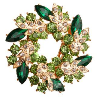 Wedding Bridal Brooch Pin Green Rhinestone Crystal Bauhinia Garland