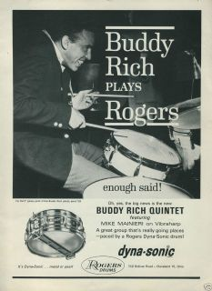 1964 ROGERS Drums Dyna Sonic Buddy Rich Plays Rogers Enough Said Photo