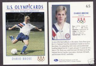 1992 U s Olympic Hopefuls Dario Brose Soccer Card 65