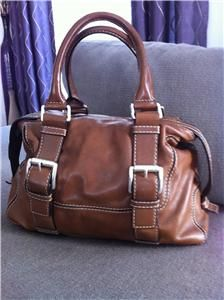 Michael Kors Brookville Bowling Satchel Handbag Leather Brown Luggage