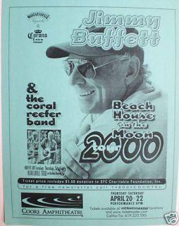 Jimmy Buffett 2000 Beach House on Moon Concert Poster