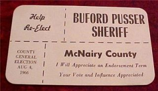 buford pusser for sheriff campaign card walking tall