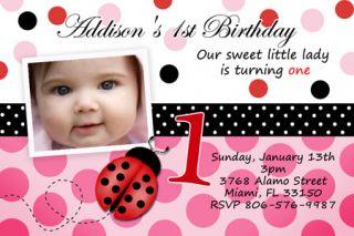 Lady Bug Birthday Party Invitation 1st P1 Red Ladybug Customizable