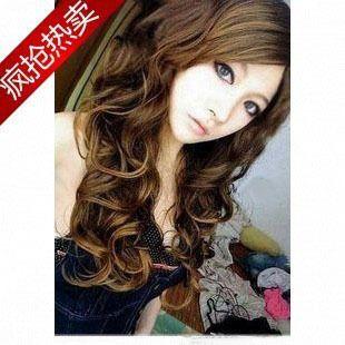 Cute Brown Women Long Kanekalon Wavy Party Hair Wig BJ33