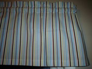 Brown White Stripe Livingroom Kitchen Window Valance Curtain