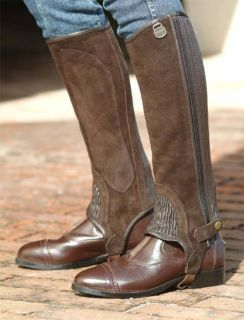 Half Chaps Horse Riding Brown Leather Suede Ribbed Ovation Size Large