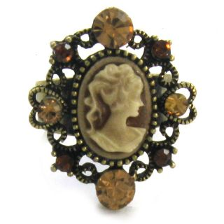 Cute Small Antique Gold Tone Topaz Brown Cameo Ring R71