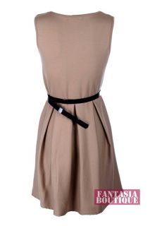 New Ladies Sleeveless Tailored Belted Skater Top Pleated Party Womens