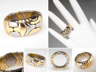 Bvlgari 18K Gold & Steel Comfort Fit Flex Ring Size 6.5 skuwm7811