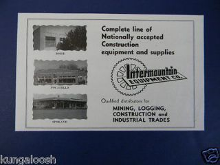 Newly listed 1950 INTERMOUNTIAN EQUIPMENT CO. MINING,LOGGING