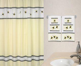 Bumble Bee Kids Childrens Girls Fabric Shower Curtain