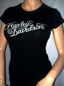Harley Davidson Ladies Black Lacey Back Short Sleeve T Shirt Tee Top