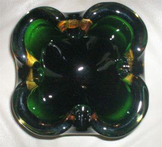 VTG MID CENTURY MURANO BOWL EMERALD GREEN SHAMROCK VASELINE GLOWS