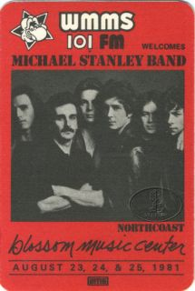 Michael Stanley Band 1981 WMMS Radio Backstage Pass