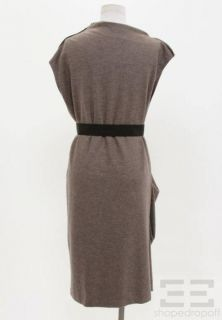Brunello Cucinelli Brown Wool Belted Sleeveless Dress US 10