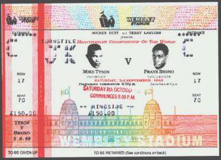 MIKE TYSON vs FRANK BRUNO ORIGINAL FIGHT TICKET IN LONDON FIGHT