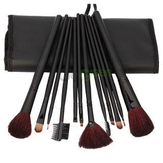 12 Pcs Professional Makeup Cosmetic Brush Set Kit Black Pouch Bag Case