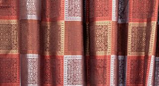 TILES FABRIC SHOWER CURTAIN JACQUARD BURGUNDY BROWN GOLD SQUARE GEO