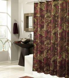 Lorelei Fabric Shower Curtain 70x72 Floral Burgundy Gold