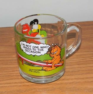 1980 McDonalds Garfield Coffee Mug Glass