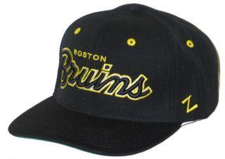 Boston Bruins NHL Hockey Vintage Black Headliner Snapback Hat Cap New