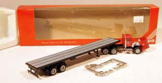 Custom 1/87 Lot of (2) Peterbilt Tractors/Flatbed Trailers    Burnell