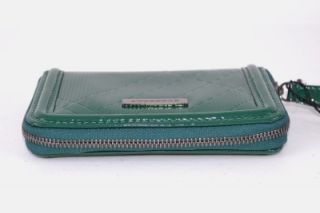 Burberry Burnham Green Nova Check Leather Zip Around Coin Purse Wallet