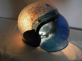 METAL FLAKE MOTORCYCLE HELMET W BUBBLE VISOR NIGHT LIGHT TABLE LAMP