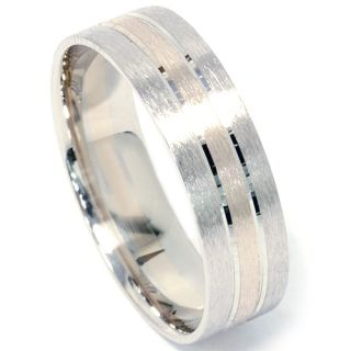 Mens Two Tone Brushed Wedding Band 14k White Yellow Gold Mans Ring