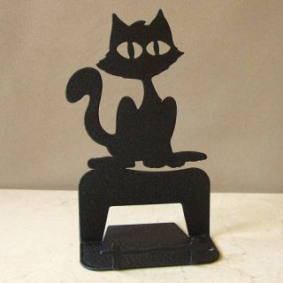 Black Kitty Cat Business Card Desk Display Holder Stand