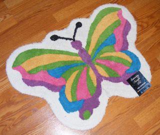 Rainbow Butterfly Shaped Bath Rug Saturday Knight 24x33 100 Cotton