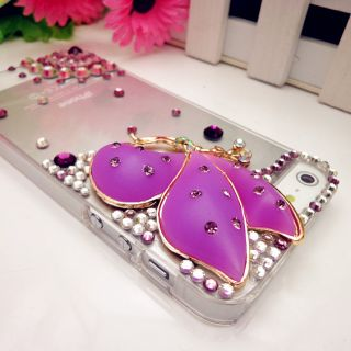 3D Bling Shiny Purple Crystal Butterfly Fairy Angel Case Cover for