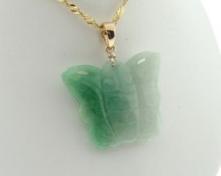 Estate Carved Jade Butterfly Solid 18K Gold Pendant Charm