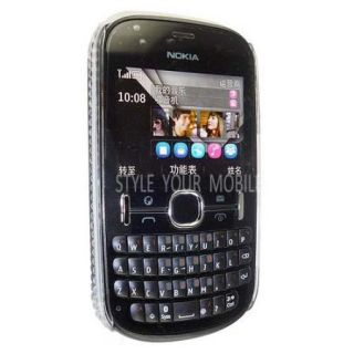 For Nokia Asha 200 201 Pink Butterfly Silver Diamond Bling Hard Gem