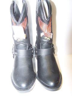 New Buffalo Gap Childrens Black Biker Cowboy Boots with Eagle