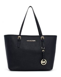 Michael Michael Kors Small Jet Set Saffiano Travel Tote Leather Black