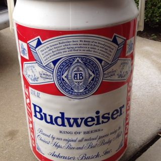 LARGE 20 Inch VINTAGE BUDWEISER BEER CAN COOLER ICE CHEST ANHEUSER