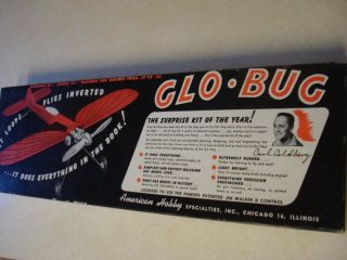 American Hobby Glo Bug Control Line Model Airplane Kit