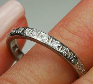 Antique Platinum Mine Cut Diamond Eternity Wedding Band Ring