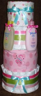 Tier Baby Girl Diaper Cake with Baby Wash Lotion and Receiving