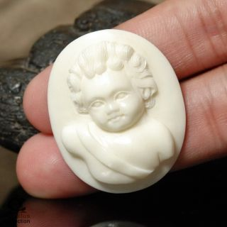 Cameo Putti Angel Cherub Face White Buffalo Bone Art Carving Hand
