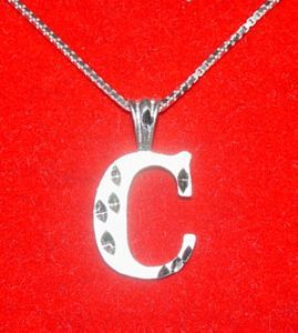 Silver Pendant Charm Jewelry Initial Letter C Diamond