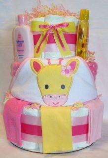 Tier Baby Girl Hooded Giraffe Towel Diaper Cake Centerpiece