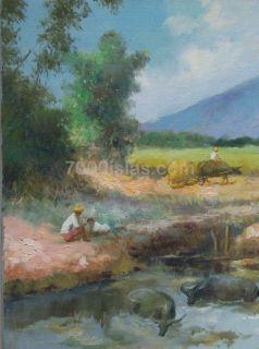 Pastol NG Kalabaw 18x24 Philippine Folk Art Oil Painting Tarlac Free