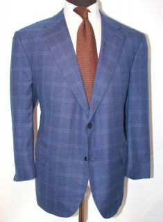 HOT RECENT St. Andrews Santandrea Peacock Blue Plaid Jacket Sport Coat