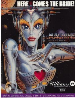 The Machine Bride of Pinbot by Williams Original Pinball Machine Flyer