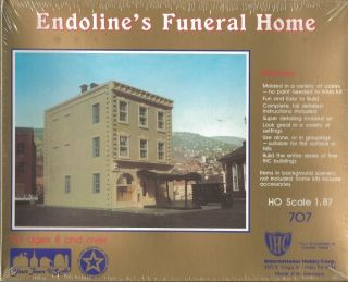 IHC Endolines Funeral Home Plastic Construction Kit HO Scale 707