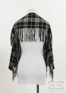 Burberry London Black White Check Cashmere Fringe Scarf